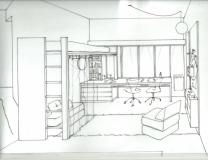 PC cama escritorio y biblioteca
