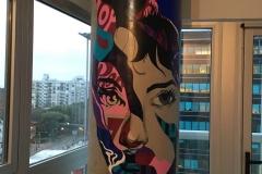 Despues,Mural en columna de Living.Piso7