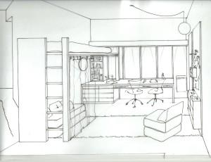 PC - cama escritorio y biblioteca